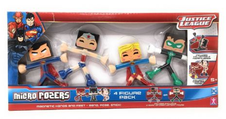 Micro Pozers - Supe Hero MAGNETIC  JUSTICE LEAGUE - 4 FIGURE PACK - NEW